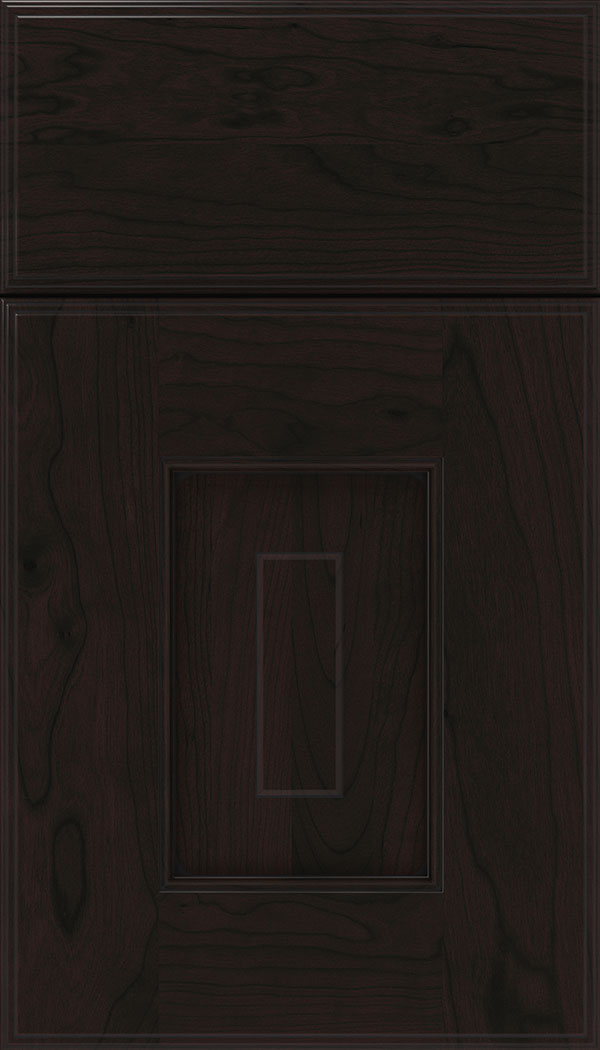 Brookfield Cherry raised panel cabinet door in Espresso with Black glaze