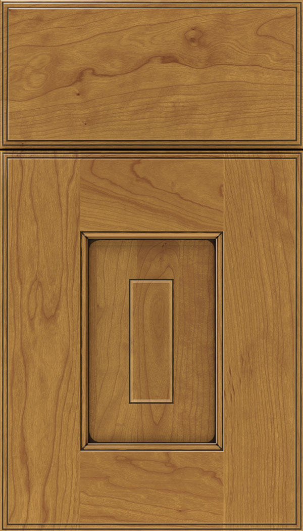 Brookfield Cherry raised panel cabinet door in Ginger with Black glaze