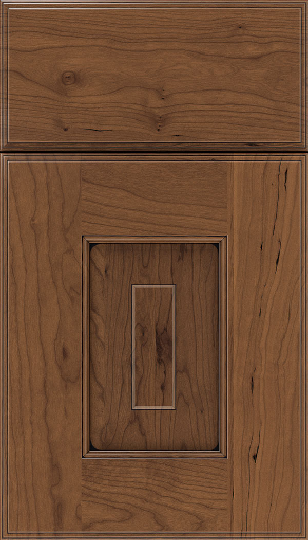 Brookfield Cherry raised panel cabinet door in Nutmeg with Black glaze