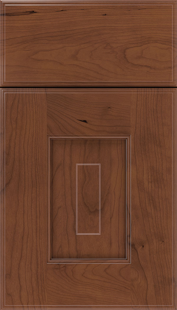 Brookfield Cherry raised panel cabinet door in Russet