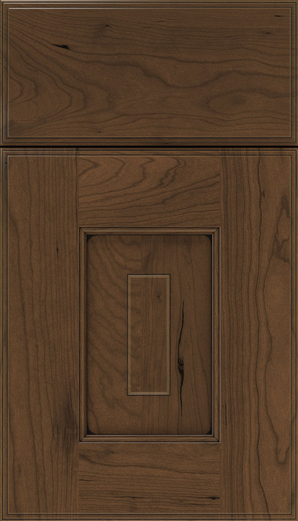 Brookfield Cherry raised panel cabinet door in Sienna with Black glaze