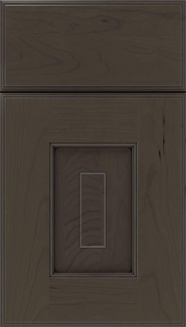 Brookfield Cherry raised panel cabinet door in Thunder with Black glaze
