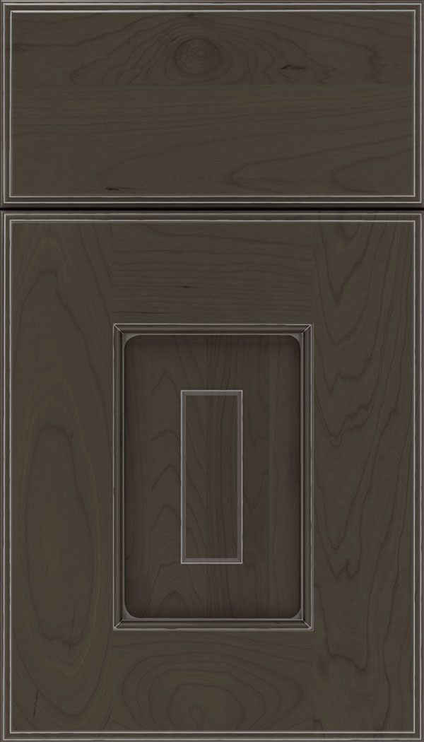 Brookfield Cherry raised panel cabinet door in Thunder with Pewter glaze