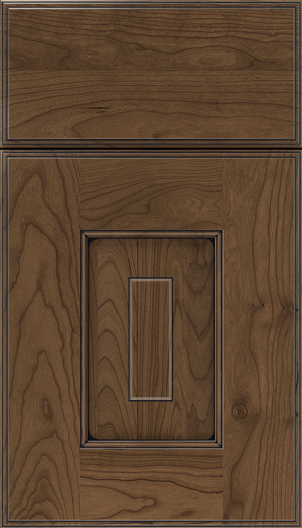 Brookfield Cherry raised panel cabinet door in Toffee with Black glaze
