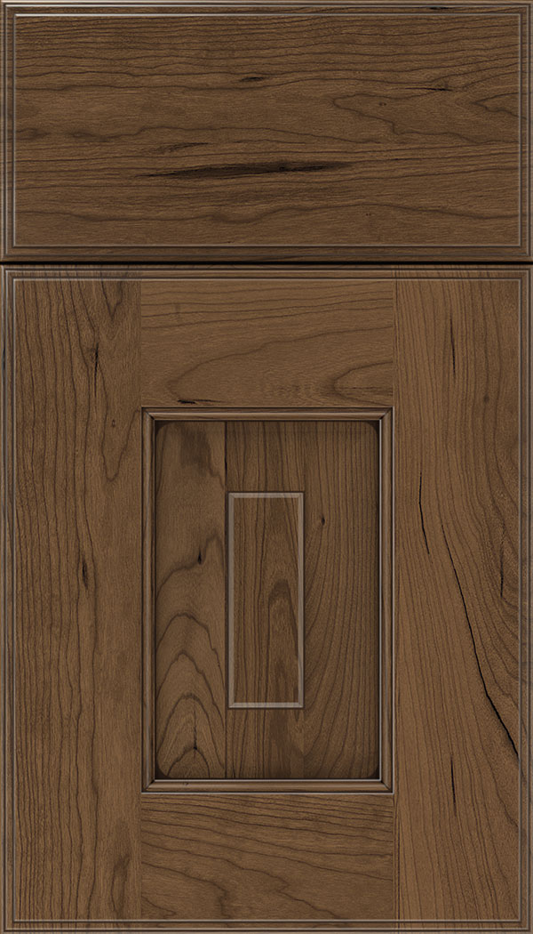 Brookfield Cherry raised panel cabinet door in Toffee with Mocha glaze