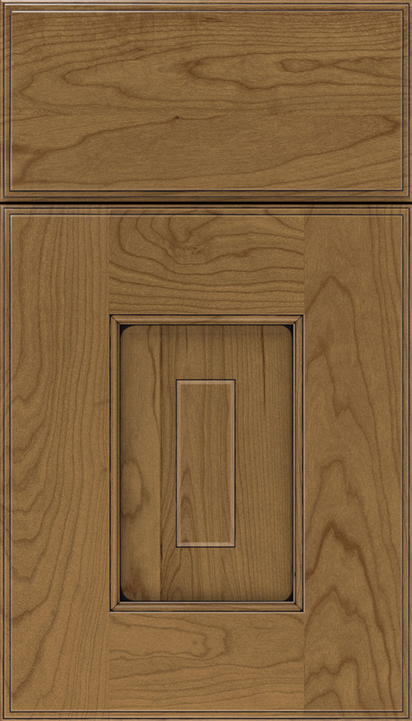 Brookfield Cherry raised panel cabinet door in Tuscan with Black glaze