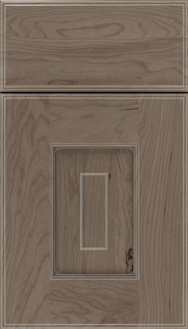 Brookfield Cherry raised panel cabinet door in Winter with Pewter glaze