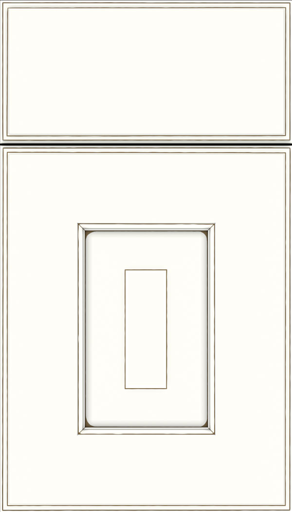 Brookfield Maple raised panel cabinet door in Alabaster with Smoke glaze