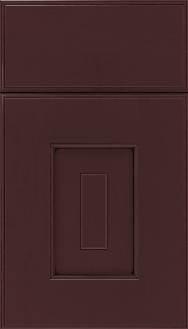 Brookfield Maple raised panel cabinet door in Bordeaux with Black glaze