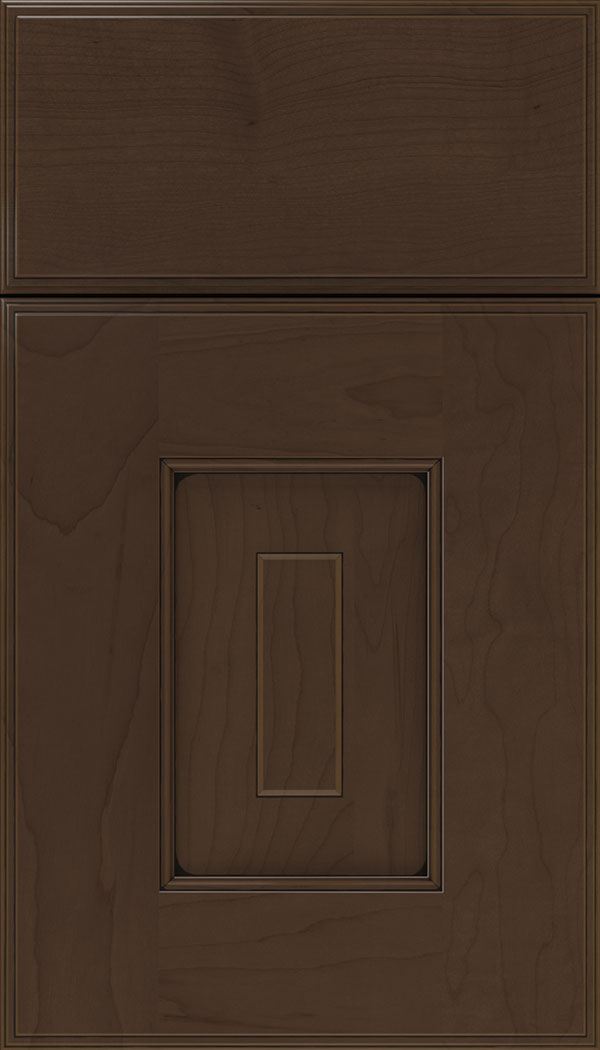 Brookfield Maple raised panel cabinet door in Cappuccino with Black glaze