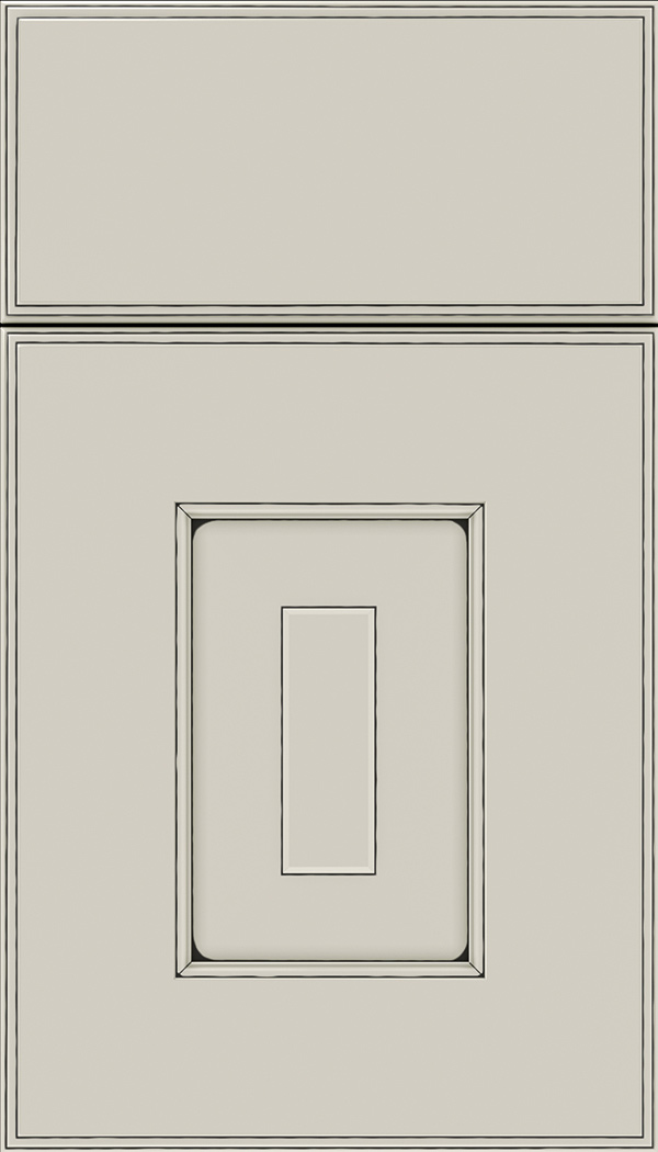 Brookfield Maple raised panel cabinet door in Cirrus with Black glaze
