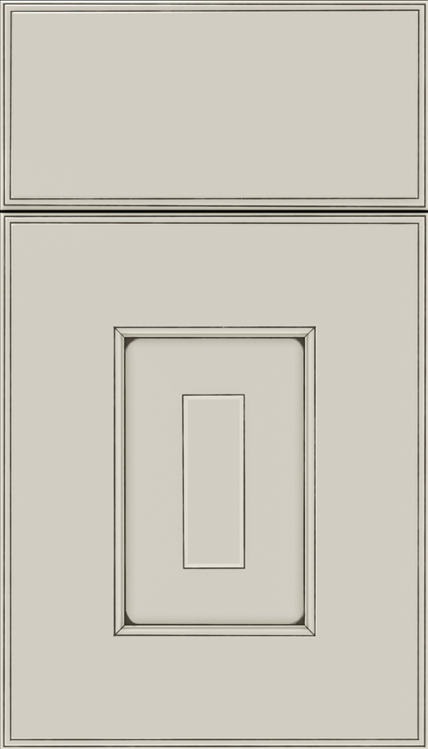 Brookfield Maple raised panel cabinet door in Cirrus with Smoke glaze