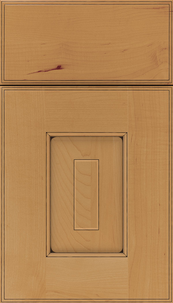 Brookfield Maple raised panel cabinet door in Ginger with Black glaze
