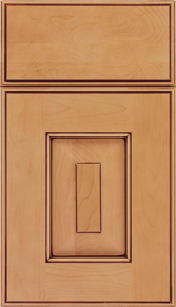 Brookfield Maple raised panel cabinet door in Ginger with Mocha glaze