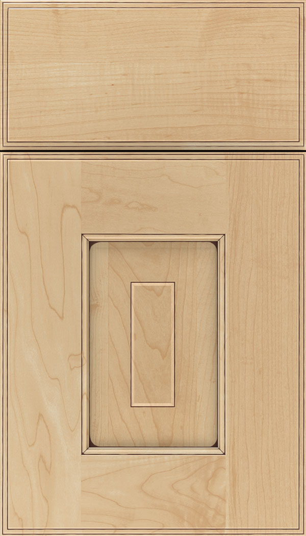 Brookfield Maple raised panel cabinet door in Natural with Mocha glaze