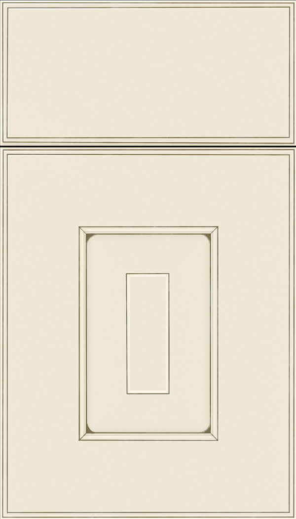 Brookfield Maple raised panel cabinet door in Seashell with Smoke glaze