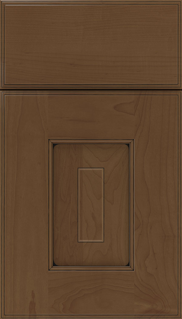 Brookfield Maple raised panel cabinet door in Sienna with Black glaze