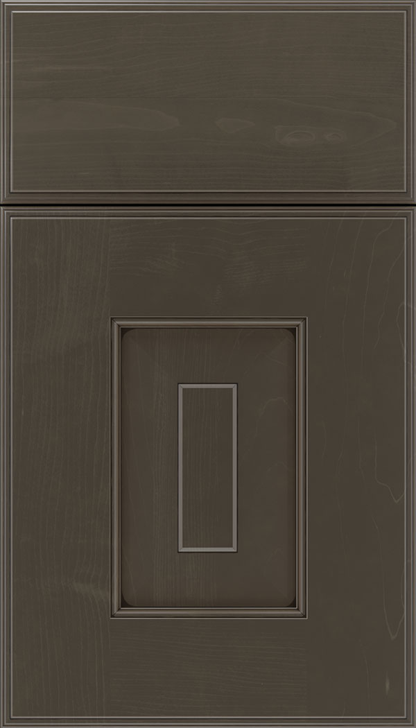 Brookfield Maple raised panel cabinet door in Thunder with Black glaze