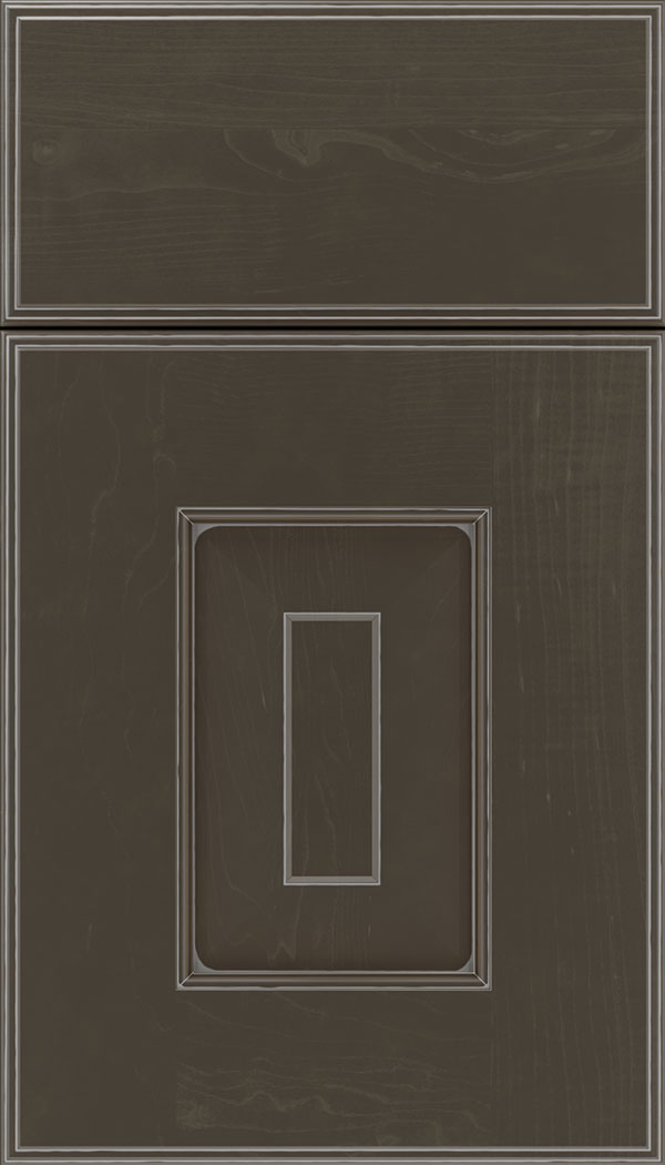 Brookfield Maple raised panel cabinet door in Thunder with Pewter glaze
