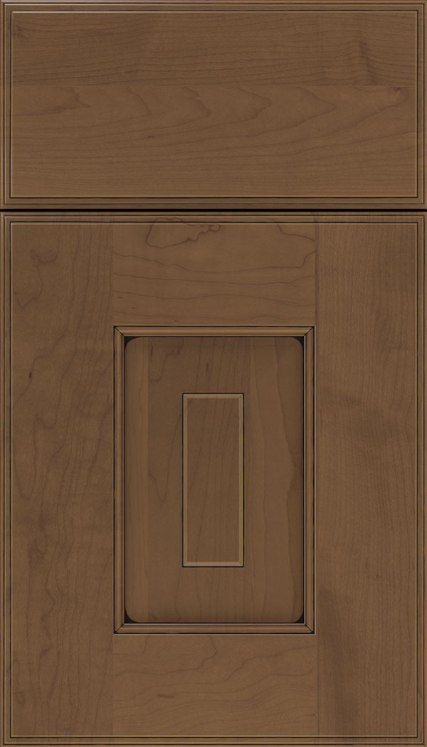 Brookfield Maple raised panel cabinet door in Toffee with Black glaze