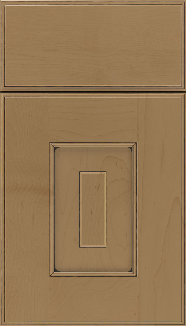 Brookfield Maple raised panel cabinet door in Tuscan with Black glaze
