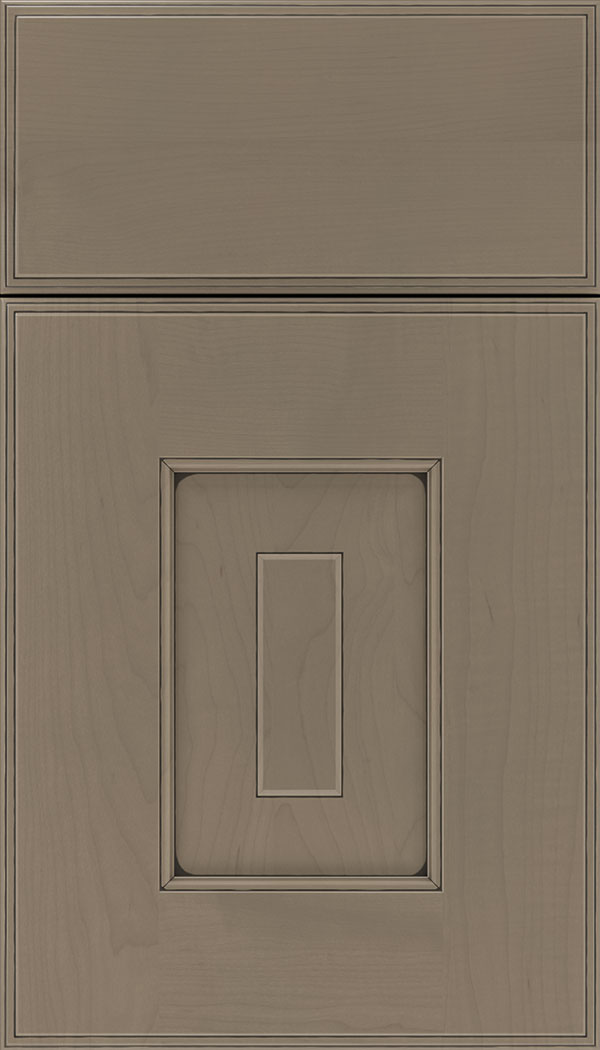 Brookfield Maple raised panel cabinet door in Winter with Black glaze