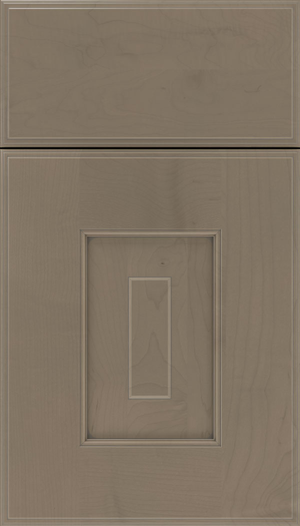 Brookfield Maple raised panel cabinet door in Winter with Pewter glaze