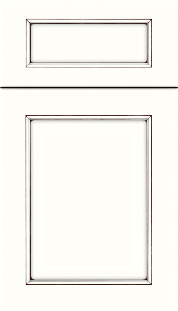 Cambridge 5pc Maple raised panel cabinet door in Alabaster with Mocha glaze