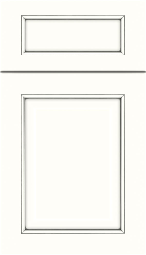Cambridge 5pc Maple raised panel cabinet door in Alabaster with Pewter glaze