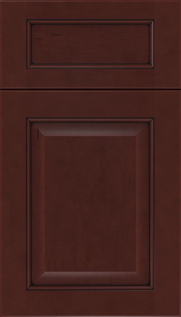 Cambridge 5pc Maple raised panel cabinet door in Bordeaux with Black glaze