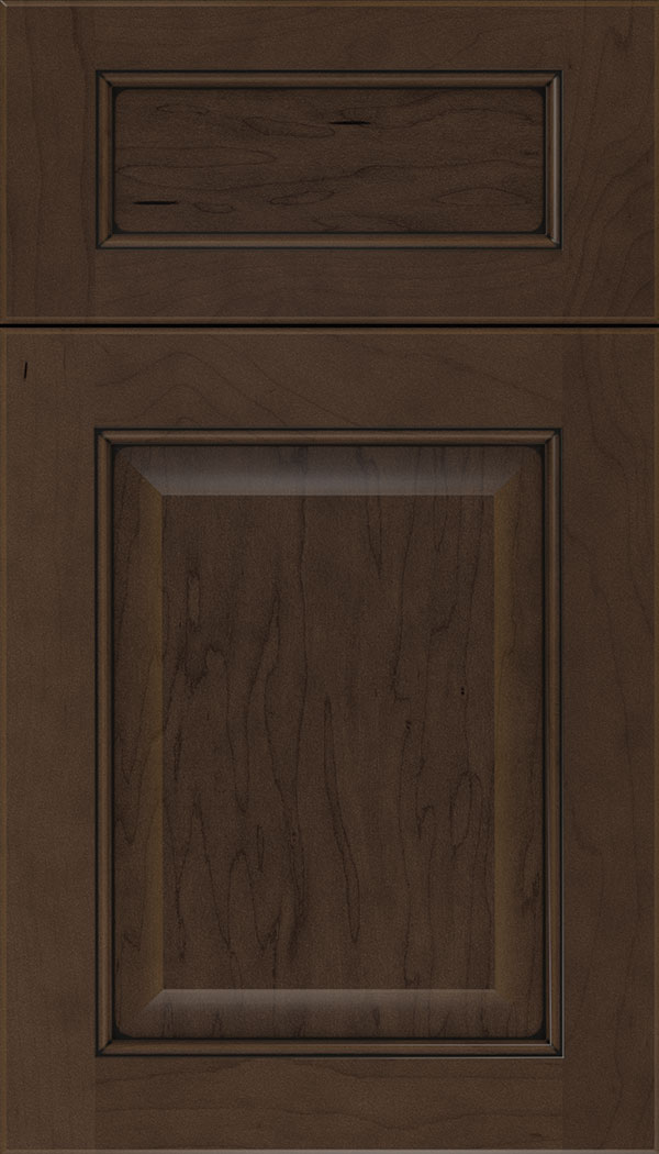 Cambridge 5pc Maple raised panel cabinet door in Cappuccino with Black glaze