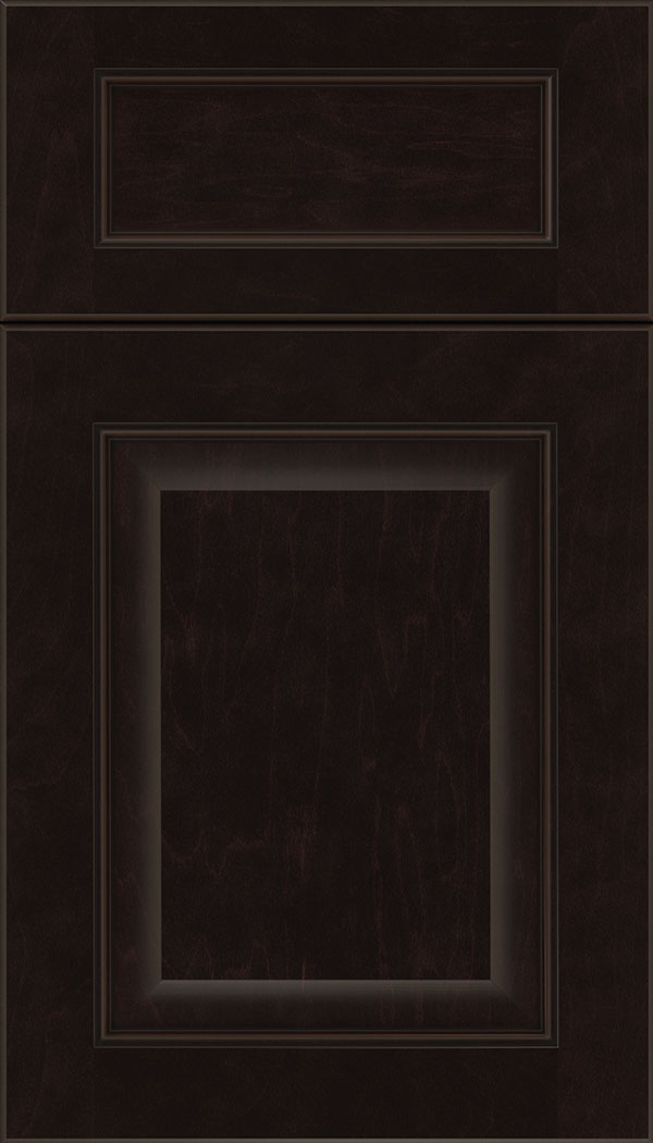 Cambridge 5pc Maple raised panel cabinet door in Espresso with Black glaze