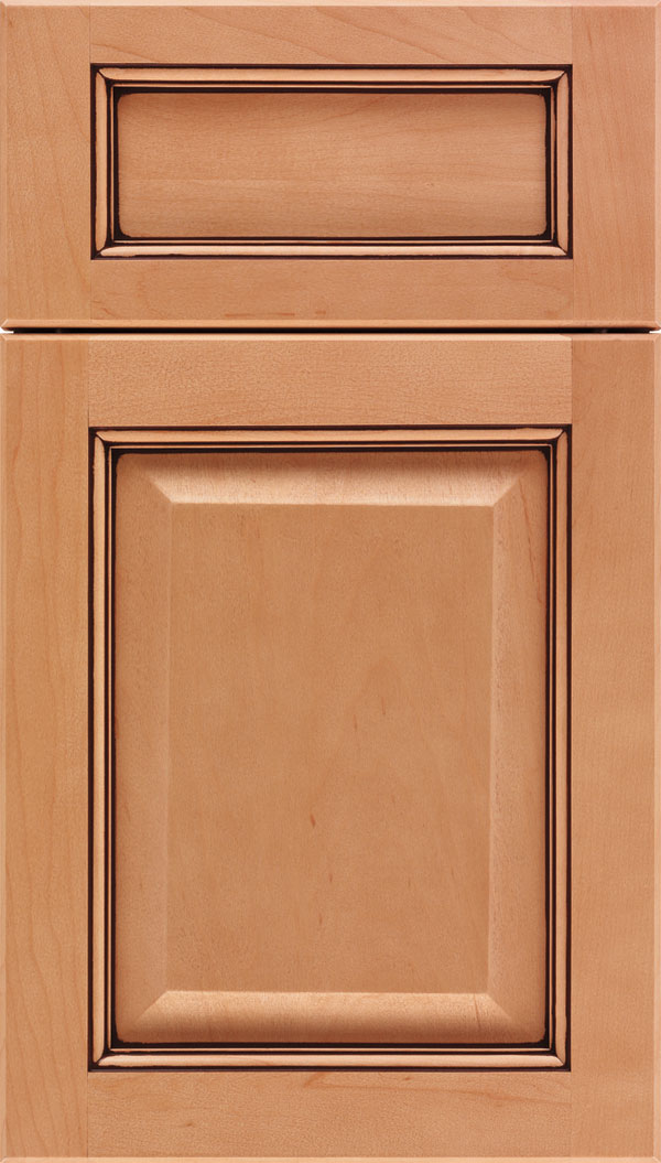 Cambridge 5pc Maple raised panel cabinet door in Ginger with Mocha glaze
