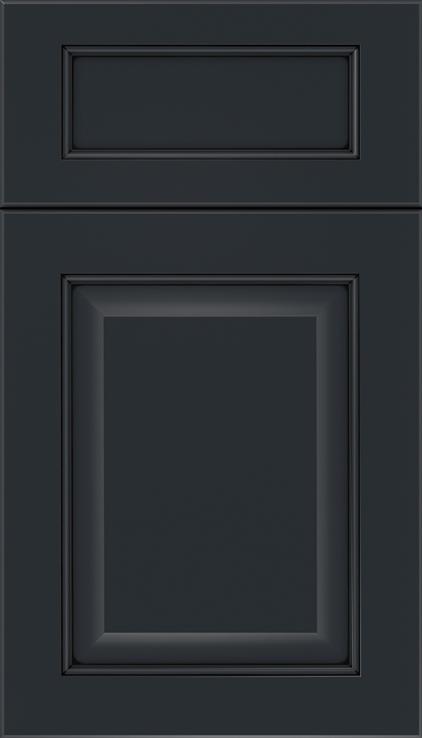 Cambridge 5pc Maple raised panel cabinet door in Gunmetal Blue with Black glaze