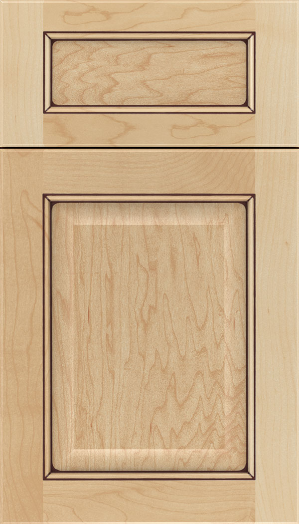 Cambridge 5pc Maple raised panel cabinet door in Natural with Mocha glaze