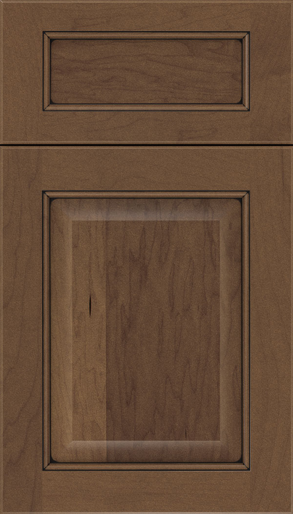 Cambridge 5pc Maple raised panel cabinet door in Toffee with Black glaze