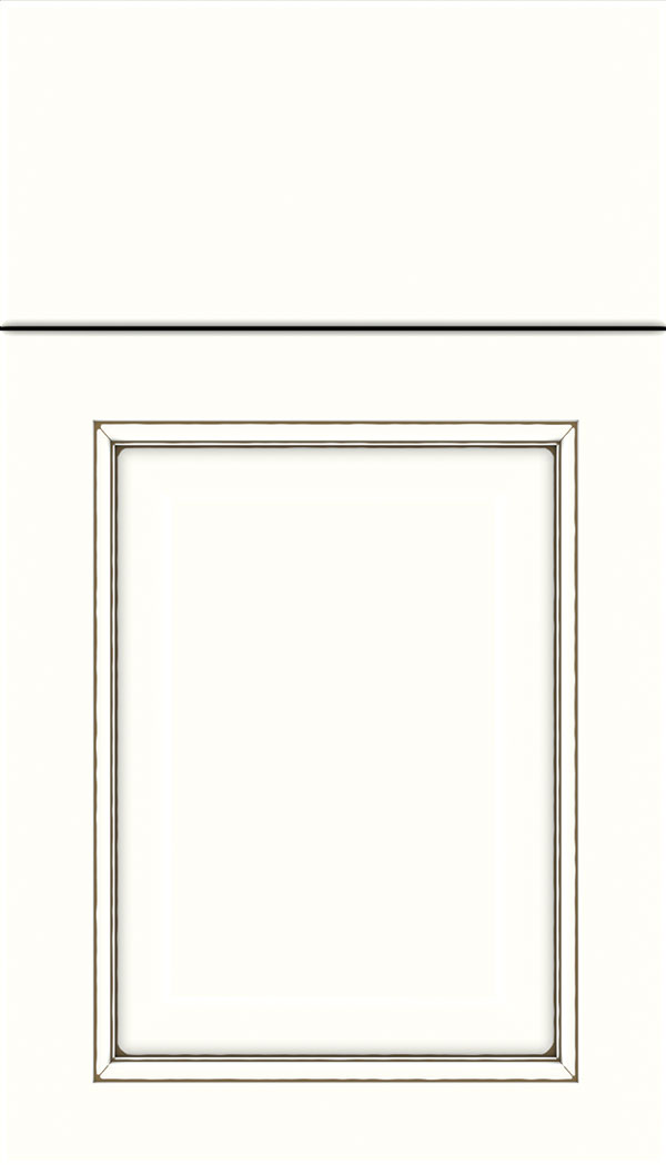 Cambridge Maple raised panel cabinet door in Alabaster with Smoke glaze