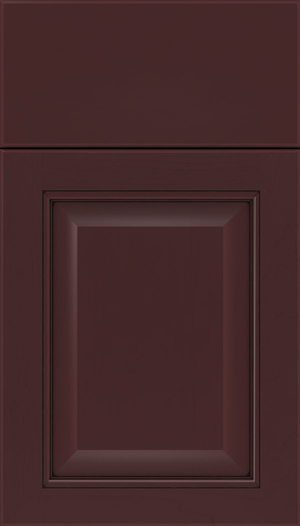 Cambridge Maple raised panel cabinet door in Bordeaux with Black glaze