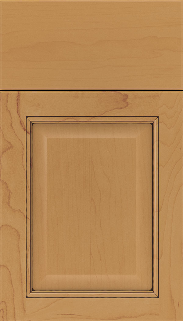 Cambridge Maple raised panel cabinet door in Ginger with Mocha glaze