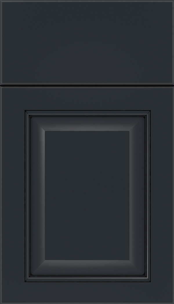 Cambridge Maple raised panel cabinet door in Gunmetal Blue with Black glaze