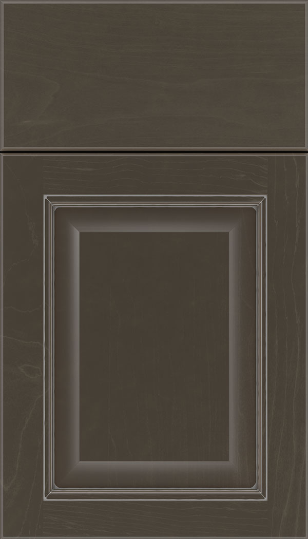 Cambridge Maple raised panel cabinet door in Thunder with Pewter glaze