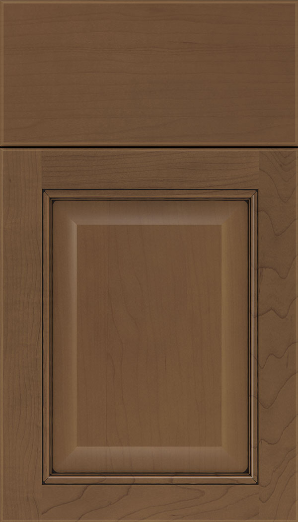 Cambridge Maple raised panel cabinet door in Toffee with Black glaze