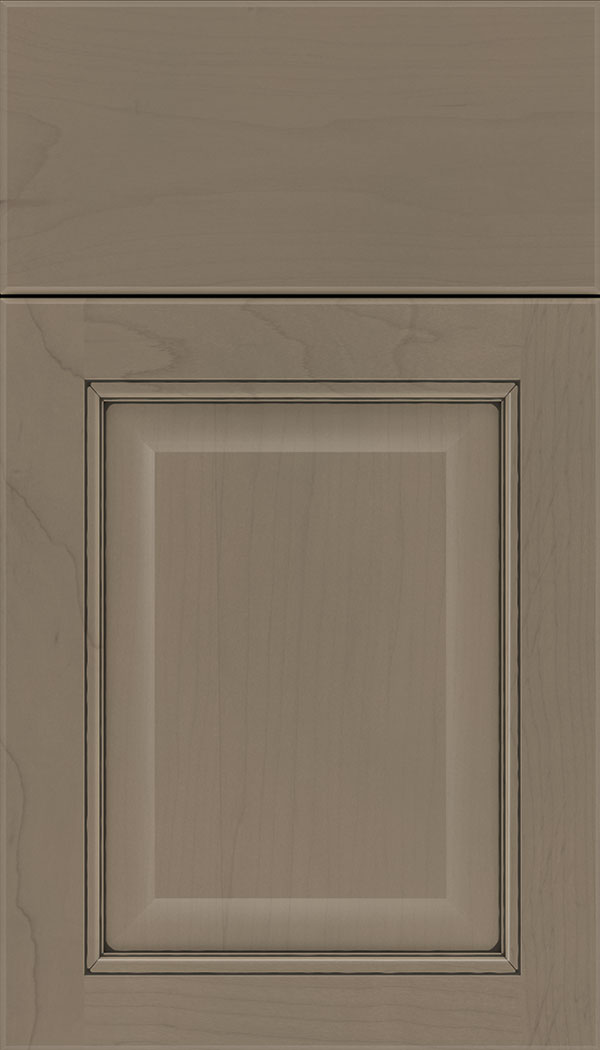 Cambridge Maple raised panel cabinet door in Winter with Black glaze