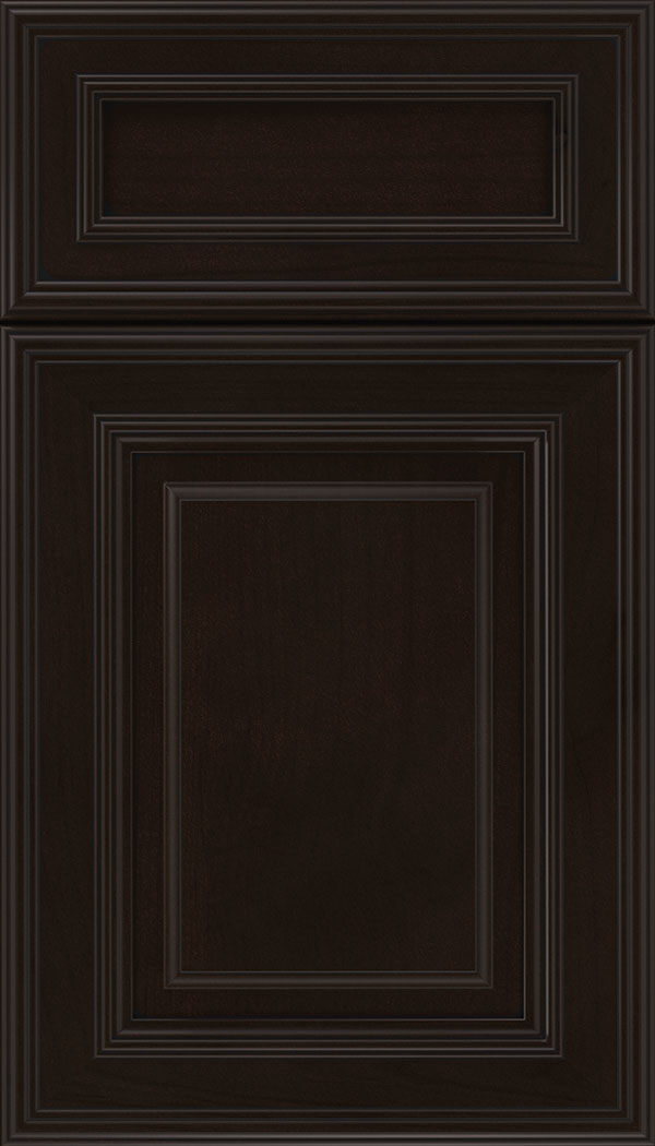 Chamberlain 5pc Alder raised panel cabinet door in Espresso with Black glaze