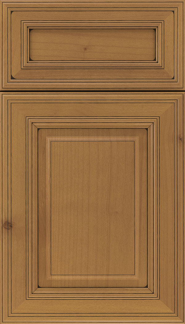 Chamberlain 5pc Alder raised panel cabinet door in Ginger with Black glaze