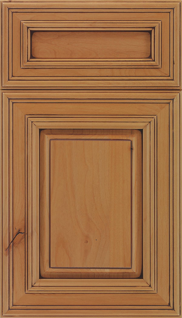 Chamberlain 5-Piece Alder raised panel cabinet door in Ginger with Mocha glaze