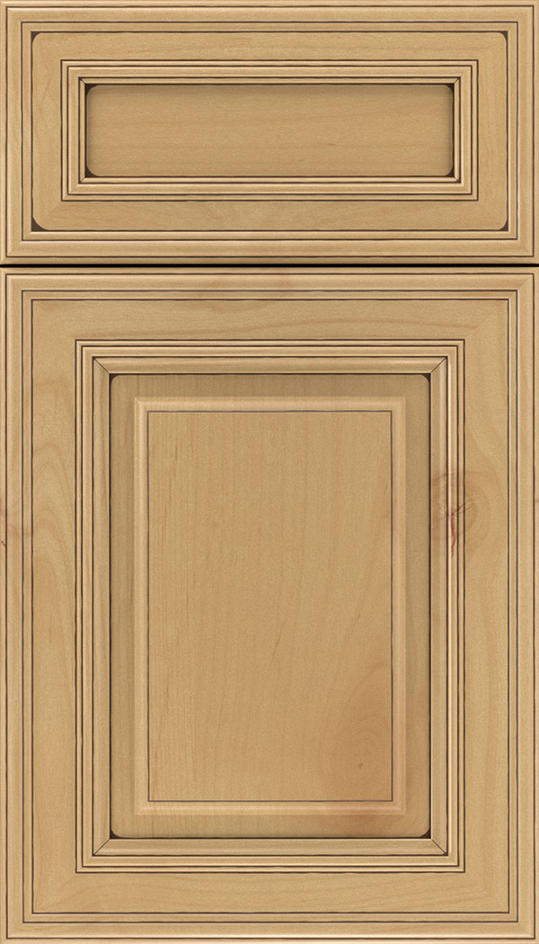 Chamberlain 5pc Alder raised panel cabinet door in Natural with Mocha glaze