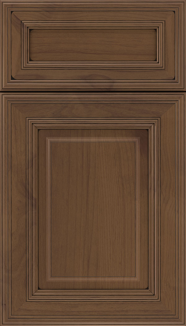 Chamberlain 5pc Alder raised panel cabinet door in Sienna with Black glaze