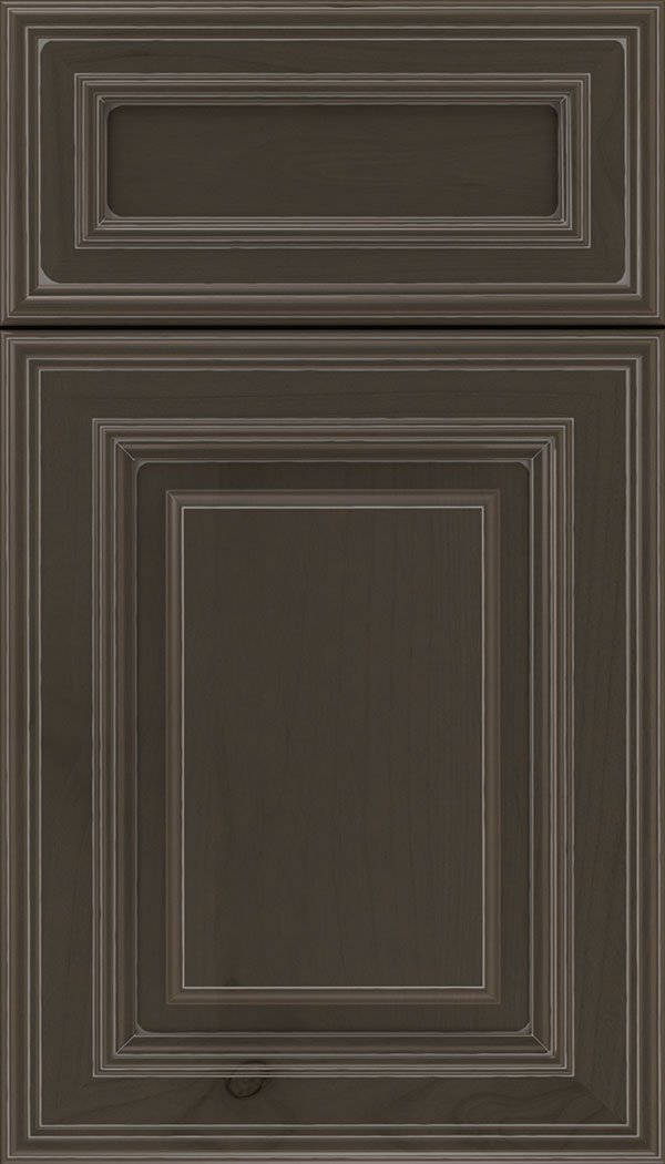 Chamberlain 5pc Alder raised panel cabinet door in Thunder with Pewter glaze