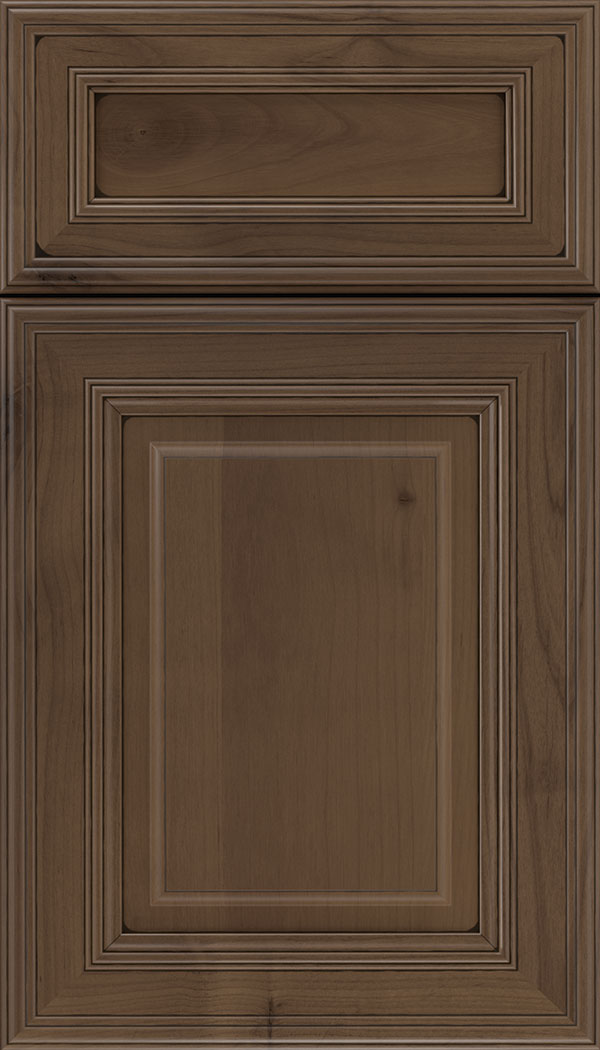 Chamberlain 5pc Alder raised panel cabinet door in Toffee with Black glaze